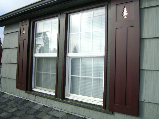 Arts & Crafts shutters w/ copper-backed pine tree cutouts (Washington)