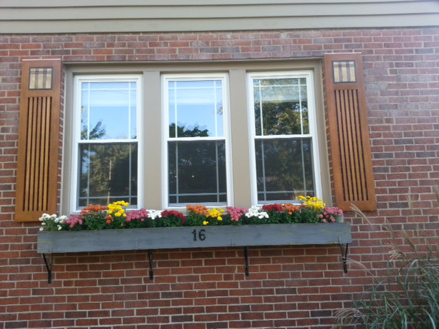 Mission style shutters w/ arts & crafts mosaic tiles (Indiana)